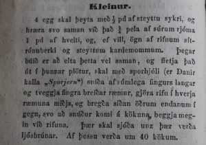 A recipe for the very popular kleinur (twisted doughnuts) from Ný matreiðslubók (1858).